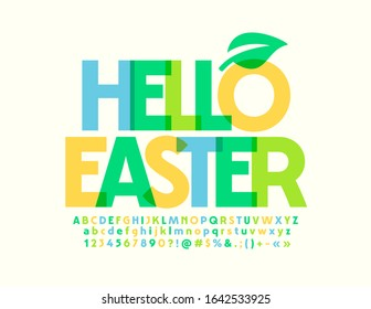 Vector colorful Emblem Hello Easter. Stylish Watercolor Font. Artistic Alphabet Letters and Numbers.