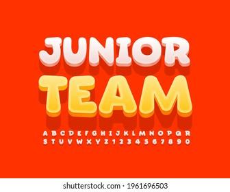 Vector colorful Emblem Junior Team. Cute 3D Font for Kids. Artistic Alphabet Letters and Numbers set