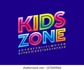 Vector colorful emblem Kids Zone with Creative Alphabet. Modern Uppercase Font. Bright glossy Letters and Numbers