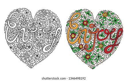 Vector colorful Enjoy word with flover and leaf for coloring book. Hand written big girl text for print, shirt and other design. Elegant ornate lettering.