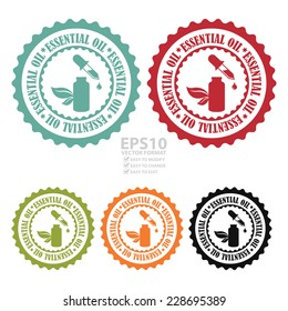 Vector : Colorful Essential Oil Stamp, Badge, Icon, Label or Sticker Isolated on White Background