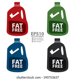 Vector : Colorful Fat Free Milk in Gallon Icon or Label Isolated on White Background