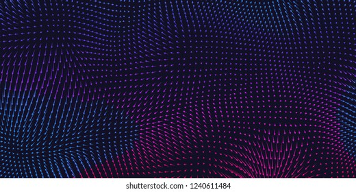 Vector colorful field visualization of forces. Magnetic or gravitational fluctuations chart. Science backdrop with a matrix of arows with magnitude and direction. Flow representation. Interaction