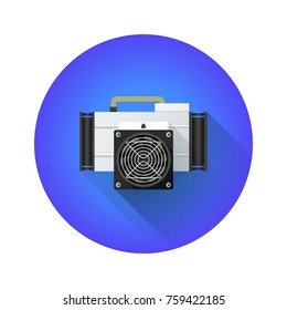 vector colorful flat design asic miner farm crypto currency application specific integrated circuit device shadowed illustration blue circle icon isolated on white background
