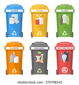 vector colorful flat design separated recycle waste segregation bins icons paper plastic battery metal glass organic paper hazardous labels signs white background long shadows