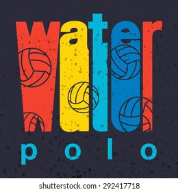 """Vector colorful flat design style illustration of signature """"water polo"""" on textured background. Template for your print or design"""