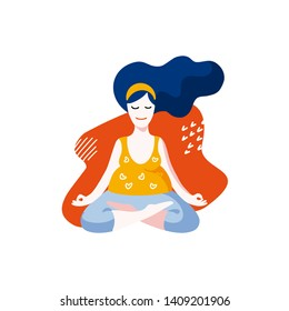 Vector colorful flat illustration of a pregnant woman. Happy, calm girl is practicing yoga in lotus pose. Identity concept for pregnancy clinics, courses, postcards, posters, print. Hand drawn design