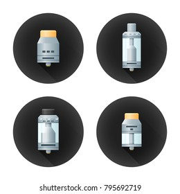vector colorful flat realistic design illustrations various rebuildable drip and tank vape atomizers types RDA RDTA RBA RTA long shadow circle black icons isolated on white background