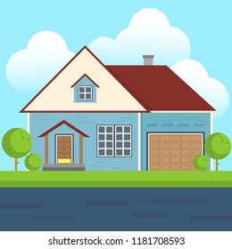Vector Of Colorful Flat Residential House