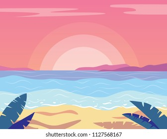 Vector colorful flat style illustration of beautiful sunset on the beach. Pink sky with blue water, yellow sand and palm silhouettes