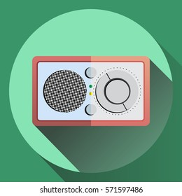 Vector colorful flat style radio receiver icon in pastel colors.
