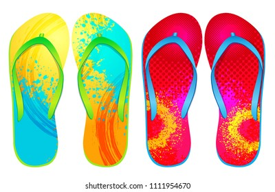 Vector colorful flip flops ( abstract Design )
