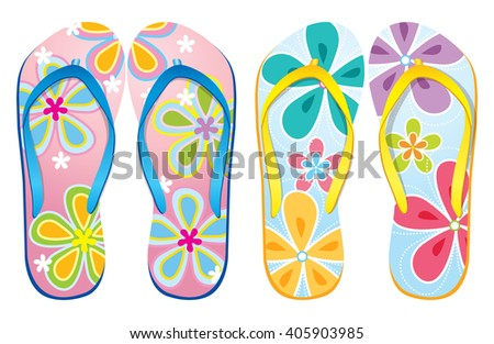 74b6f0af333 Vector Colorful Flip Flops Beach Sandals Stock Vector (Royalty Free ...