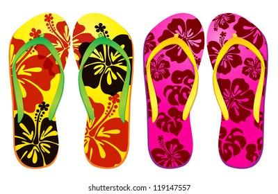 4d3a1aceac75 Vector colorful flip flops ( hibiscus flower Design )   Beach Sandals