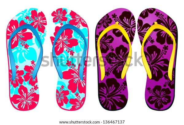 Vector colorful flip flops / ( hibiscus flower Design ) / Beach Sandals