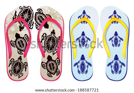 3d562caa1ac33 Vector Colorful Flip Flops Sea Turtle Stock Vector (Royalty Free ...
