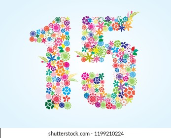 Vector Colorful Floral 15 Number Design isolated on white background. Floral Number Fifteen Vector Typeface.