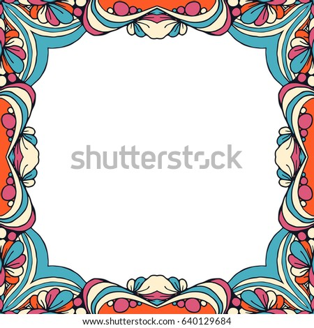 Vector Colorful Floral Frame Blank Design Stock Vector