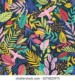Vector colorful floral seamless pattern with exotik leaves and birds