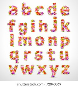 Vector colorful flower font. Check my portfolio for numbers and uppercase letters.