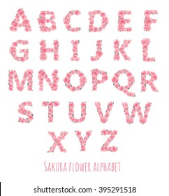 Vector colorful flower font - font made with sakura flowers and leaves - floral alphabet letters set, vector design