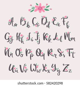 Vector Colorful Flower Font Nature Summer Type And Handmade Drawn Alphabet Spring Beautiful Flora Set