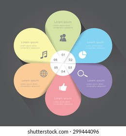 Vector colorful flower infographic. Template for diagram,  presentation and chart. Business concept with six options,  parts, steps or processes. Abstract background.