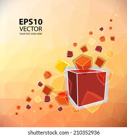 Vector - Colorful Flying Cubes on Triangular Background
