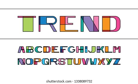 vector of colorful font and alphabet