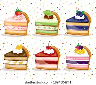 vector colorful fruit sweet yummy slice roll cakes set