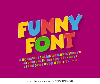Vector colorful funny Font for Children. Rotated playful Alphabet Letters, Numbers and Symbols.