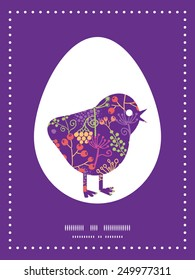 Vector colorful garden plants chicken silhouette Easter frame