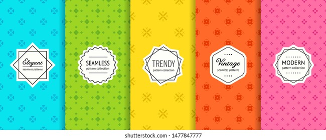 Vector colorful geometric seamless pattern collection. Set of cute minimalist background swatches with elegant labels. Abstract floral textures. Modern design. Blue, green, yellow, orange, pink color