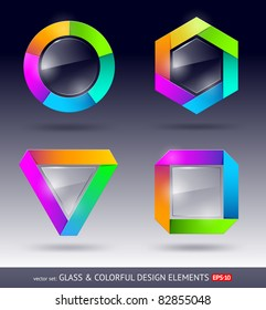 Vector colorful and glass design element