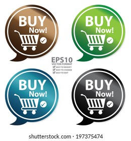 Vector : Colorful Glossy Style Buy Now Speech Balloon, Icon, Sticker or Label Isolated on White Background