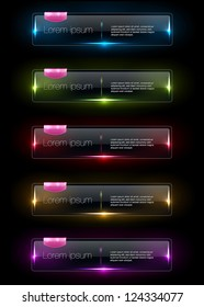 Vector colorful glowing glass banners collection with pink plastic tags