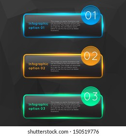 Vector colorful glowing glass infographics options banners collection set with polygonal background.