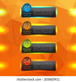 Vector colorful glowing glass infographics options banners collection set with polygonal background. For ui, web games, tablets, wallpapers, and patterns.