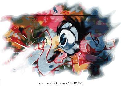 Vector colorful graffiti style eyeball and design
