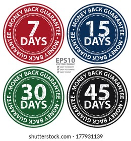 Vector : Colorful Grunge Style 7 - 45 Days Money Back Guarantee Icon, Badge, Label or Sticker for Product Warranty, Quality Assurance, CRM or Customer Satisfaction Concept Isolated on White Background