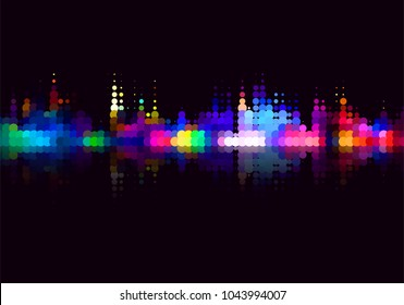 Vector colorful halftone dots background. Flat, decorative design of cityscape view at night.