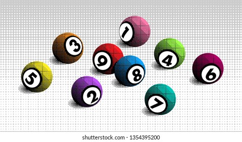 Vector colorful halftone lottery bingo ball number from 1 to 9