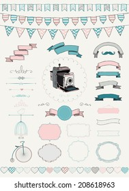 Vector Colorful Hand Drawn Banners, Ribbons, Frames. Graphic Design Elements.