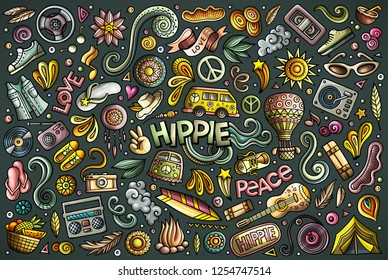 Vector colorful hand drawn doodle cartoon set of Hippie objects and symbols