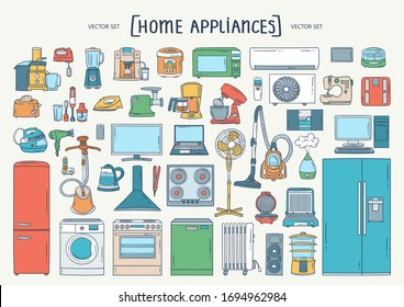 Vector colorful hand drawn set on the theme of home appliances. Isolated cartoon doodles of electronics. Line art