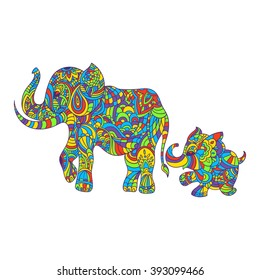 Vector colorful hand drawn zentagle illustration of an elephant and baby elephant. Coloring page with high details isolated on white background. Boho style.