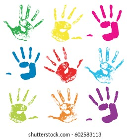 Vector colorful hand prints. Isolated background.