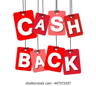 Vector colorful hanging cardboard. Tags - cash back