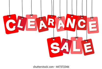 Vector colorful hanging cardboard. Tags - clearance sale