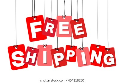 Vector colorful hanging cardboard. Tags - free shipping
